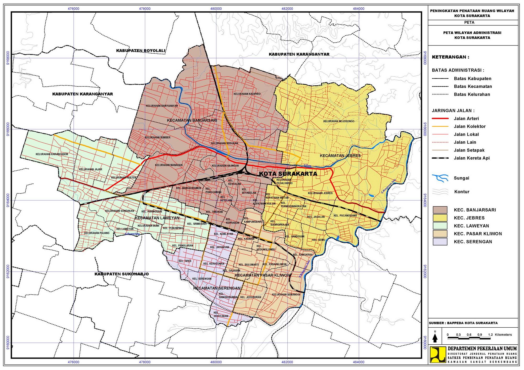 Peta Kota administrasi Solo Raya – M2000